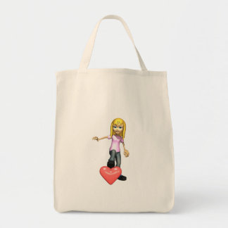 girl stepping on heart canvas bags