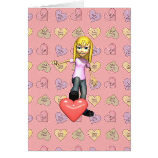 girl stepping on heart card