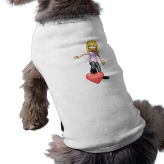 girl stepping on heart doggie shirt