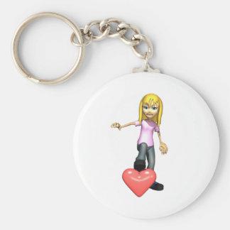 girl stepping on heart key chain