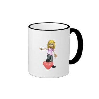 girl stepping on heart mug