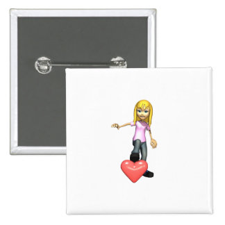 girl stepping on heart pin