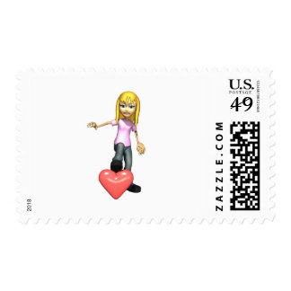 girl stepping on heart postage