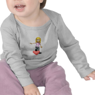 girl stepping on heart tee shirt