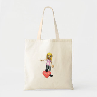 girl stepping on heart tote bag