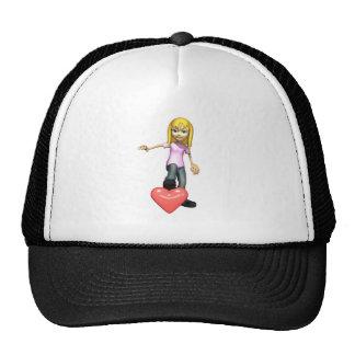 girl stepping on heart trucker hat