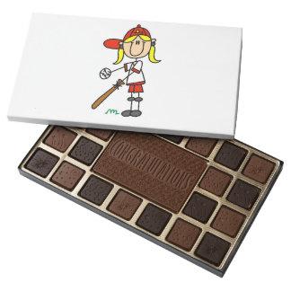 Girl Stick Figure Baseball At Bat Box of Chocolate