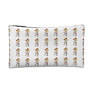 Girl Stick Figure Baseball Up At Bat Cosmetic Bag