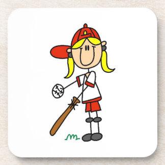 Girl Stick Figure Baseball Up At Bat Drink Coaster