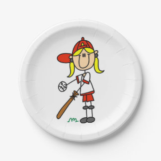 Girl Stick Figure Baseball Up At Bat Paper Plate
