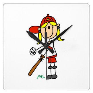 Girl Stick Figure Baseball Up At Bat Square Wall Clock