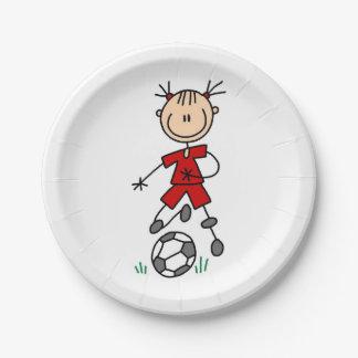 Girl Stick Figure Soccer Red Uniform Paper Plates