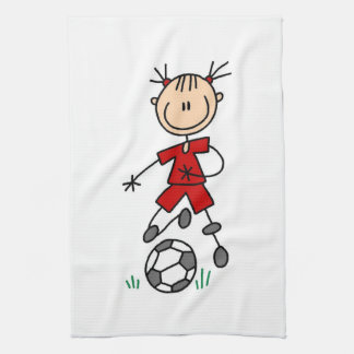 Girl Stick Figure Soccer Red Uniform Towel