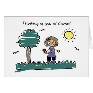 Girl Stick Figure Summer Camp Thinking of You Greeting Card