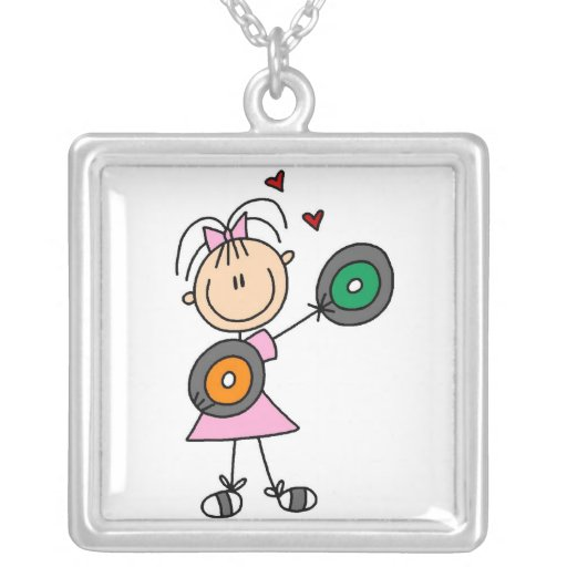 Girl Stick Figure With Record Albums Necklace