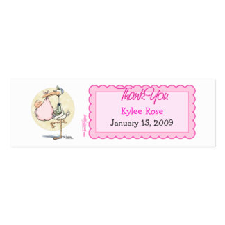 Girl Stork Thanks Favor Tag Business Card Templates