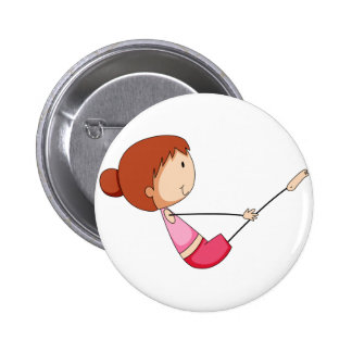 Girl stretching 2 inch round button