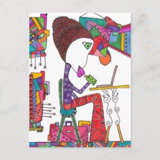 girl study on postcard