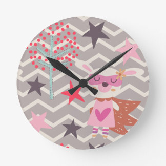 Girl Superhero Bunny Round Clock
