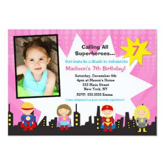 Girl Superhero Photo Birthday Party Invitations
