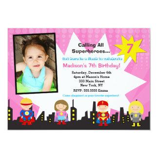 Girl Superhero Photo Birthday Party Invitations