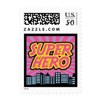 Girl Superhero Postage Stamps