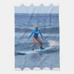 Girl Surfer Kitchen Towel