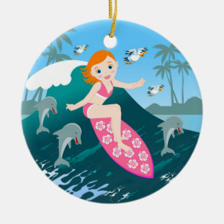 Girl Surfing Big Wave with Dolphins Ceramic Ornament