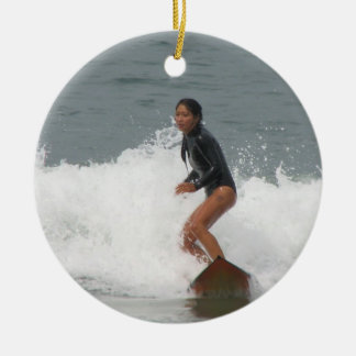 Girl Surfing Ornament