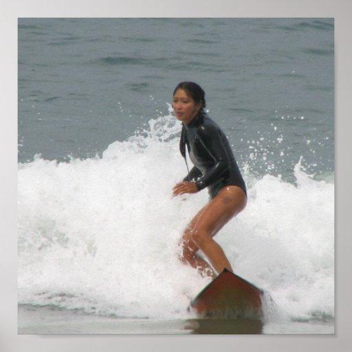 Girl Surfing Poster