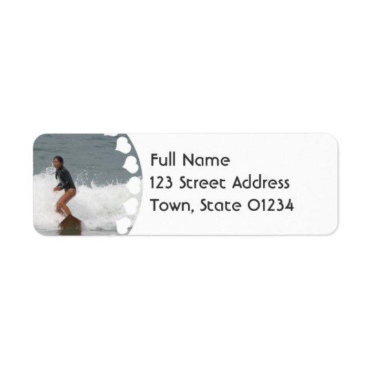 Girl Surfing Return Address Mailing Label
