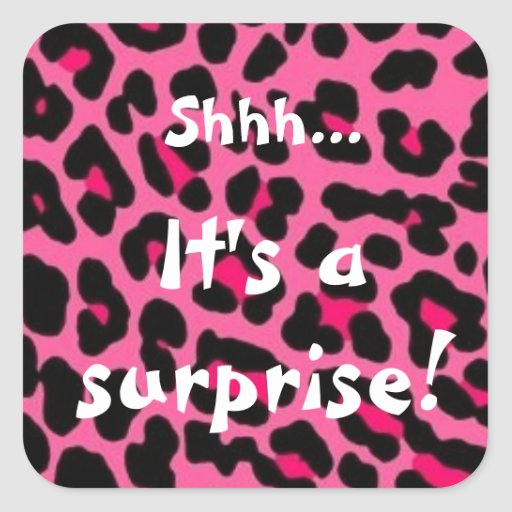 Girl Surprise Party Pink Leopard Print Stickers