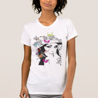 girl surrounded butterflys t-shirt