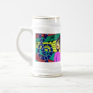 Girl Surrounded By Musical Notes 18 Oz Beer Stein