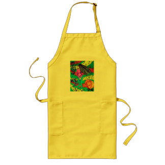 Girl Surrounded By Musical Notes Long Apron