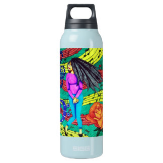 Girl Surrounded By Musical Notes Insulated Water Bottle