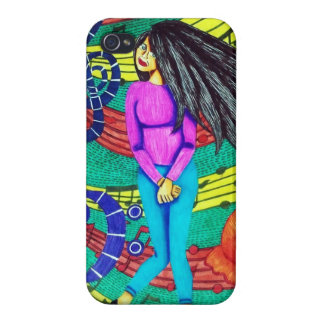 Girl Surrounded By Musical Notes iPhone 4 Cover