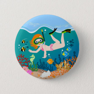 Girl swimmer has a birthday party button