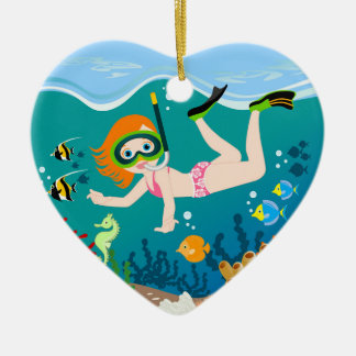Girl swimmer has a birthday party ceramic ornament