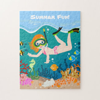 Girl swimmer has a birthday party jigsaw puzzle