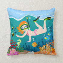 Girl swimmer has a birthday party throw pillow