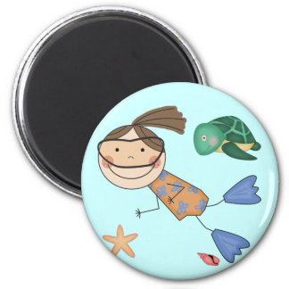Girl Swimming T-shirts and Gifts 2 Inch Round Magnet