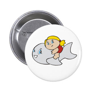 Girl Swimming with Dolphin Pinback Button