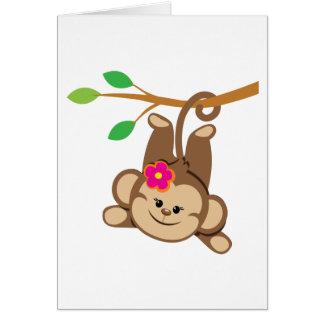 Girl Swinging Monkey Card