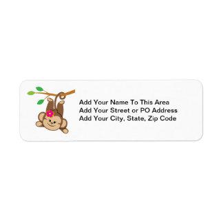 Girl Swinging Monkey Return Address Label