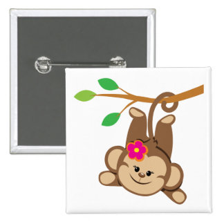 Girl Swinging Monkey Pinback Button