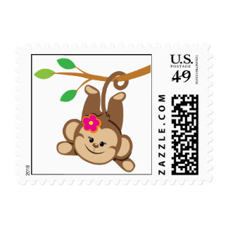 Girl Swinging Monkey Postage