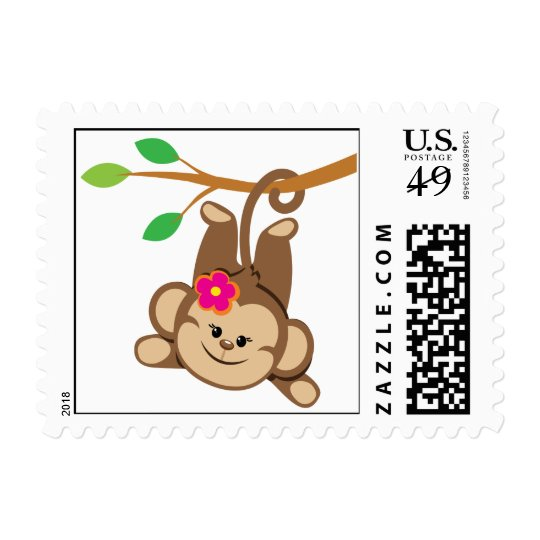 Girl Swinging Monkey Postage