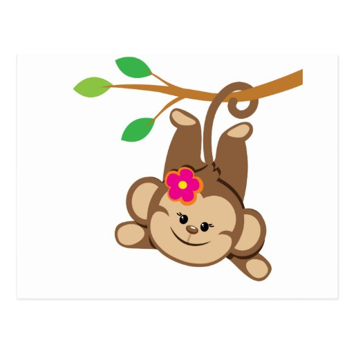 Girl Swinging Monkey Post Card