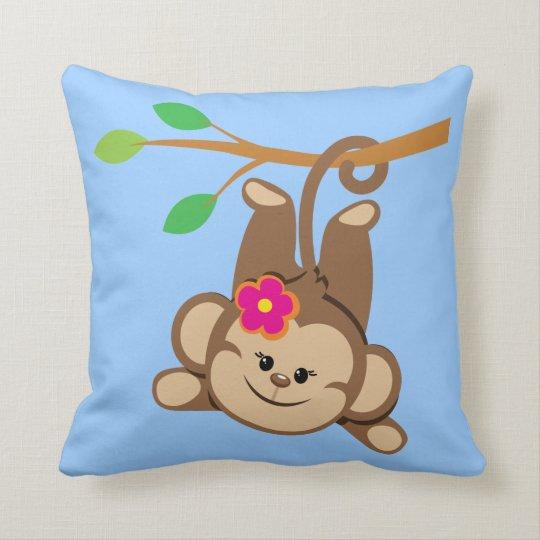 Girl Swinging Monkey Throw Pillow
